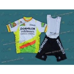 Throwback Dormilon white and Green Cycling Jersey and Bib Shorts Set