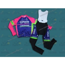 2014 Team Lampre - Merida Long Sleeve Cycling Jersey And Bib Pants Set