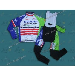 2013 Liquigas US Champion Thermal Long Sleeve Cycling Jersey And Bib Pants