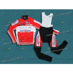 2012 Team Katusha Red Thermal Cycling Long Sleeve Jersey And Bib Pants Set