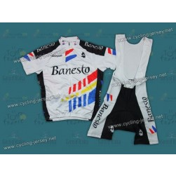 Throwback Banesto White And Black Cycling Jersey and Bib Shorts Set
