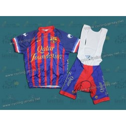 2011 Futbol Club Barcelona Blue Cycling Jersey and Bib Shorts Set