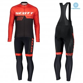 2019 Scott RC Team Black-Red Thermal Cycling Jersey And Bib Pants Set