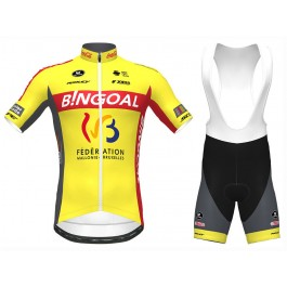 2020 Bingoal Wallonie Bruxelle Yellow Cycling Jersey And Bib Shorts Set