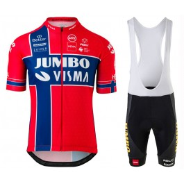 2020 Team JUMBO-VISMA Norway Champion Cycling Jersey And Bib Shorts Set