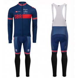 2020 Kalas GBR Country Team Blue Long Sleeve Cycling Jersey And Bib Pants Set