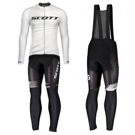 2020 Scott RC Pro White Long Sleeve Cycling Jersey And Bib Pants Set