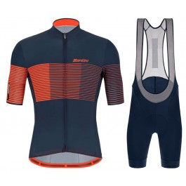 2021 Santini Tono Freccia Blue Orange Cycling Jersey And Bib Shorts Set