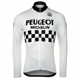 Peugeot Michelin Team White Long Sleeve Cycling Jersey
