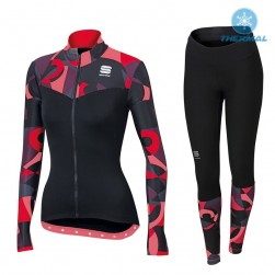 2017 Spоrtful Primavera Red Women Thermal Cycling Jersey And Pants Set