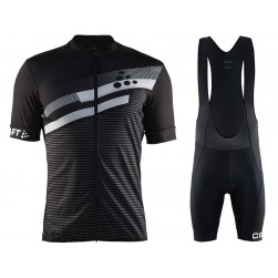 2018 Craft Reel Graphic Black Cycling Jersey And Bib Shorts Set
