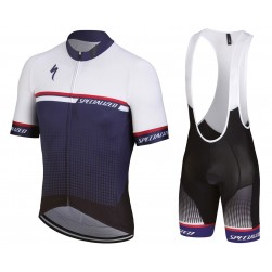 2018 SPED SL-Expert White-Blue Cycling Jersey And Bib Shorts Set