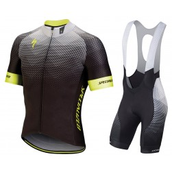 2018 SPED IDT Black-Yellow Cycling Jersey And Bib Shorts Set