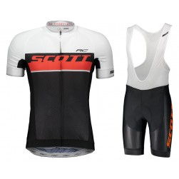2018 SCOTT RC White-Red Cycling Jersey And Bib Shorts Set