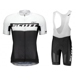 2018 SCOTT RC Black-White Cycling Jersey And Bib Shorts Set