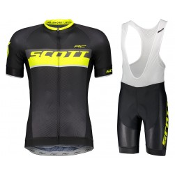 2018 SCOTT RC Black-Yellow Cycling Jersey And Bib Shorts Set