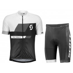 2018 SCOTT-TEAM 1.0 Black-White Cycling Jersey And Shorts Set