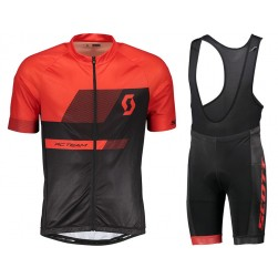 2018 SCOTT-TEAM 1.0 Black-Red Cycling Jersey And Bib Shorts Set