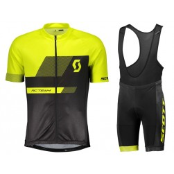 2018 SCOTT-TEAM 1.0 Black-Yellow Cycling Jersey And Bib Shorts Set