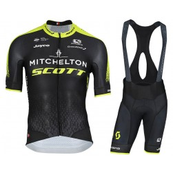 2018 SCOTT Mitchelton Team Black Cycling Jersey And Bib Shorts Set