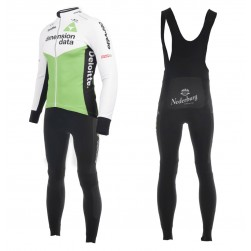 2018 Dimension Data White Long Sleeve Cycling Jersey And Bib Pants Set