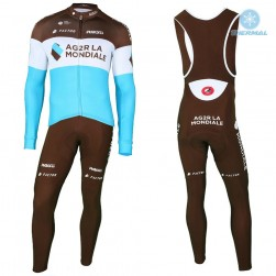 2018 AG2R Team Thermal Cycling Jersey And Bib Pants Set
