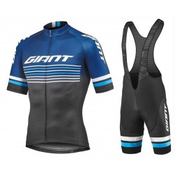2019 Giant Race Day Black Cycling Jersey And Bib Shorts Set
