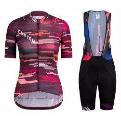 2019 Canyon Red Women's Cycling Jersey And Bib Shorts Set