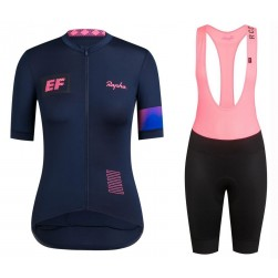 2019 Rapha EF Team Blue Women's Cycling Jersey And Bib Shorts Set