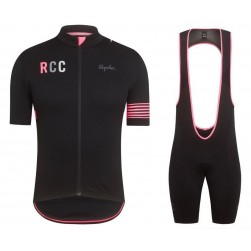 2019 Rapha RCC Black-Pink Cycling Jersey And Bib Shorts Set