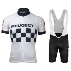 Peugeot Team 1983 Retro White Cycling Jersey And Bib Shorts Set
