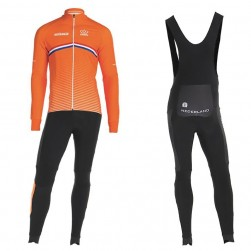 2019 Nederland Country Team Long Sleeve Cycling Jersey And Bib Pants Set
