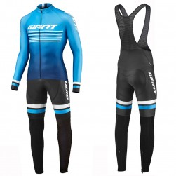 2019 Giant Race Day Light Blue Long Sleeve Cycling Jersey And Bib Pants Set