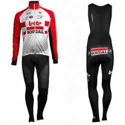2019 Team Lotto Red Long Sleeve Cycling Jersey And Bib Pants Set