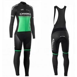 2019 Orbea Factory Racing Women Green Long Sleeve Cycling Jersey And Bib Pants Set