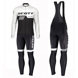 2019 Scott RC Team Black-White Long Sleeve Cycling Jersey And Bib Pants Set