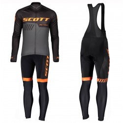 2019 Scott RC Team Black-Orange Long Sleeve Cycling Jersey And Bib Pants Set