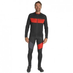 2019 Scott RC FF Black-Red Long Sleeve Cycling Jersey And Bib Pants Set