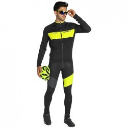 2019 Scott RC FF Black-Yellow Long Sleeve Cycling Jersey And Bib Pants Set