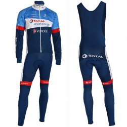 2019 Total Blue Long Sleeve Cycling Jersey And Bib Pants Set