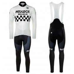 Peugeot Michelin Team White Long Sleeve Cycling Jersey And Bib Pants Set
