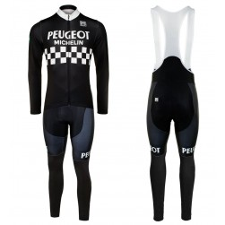 Peugeot Michelin Team Black Long Sleeve Cycling Jersey And Bib Pants Set