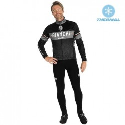 2019 Bianchi Milano XD Black Thermal Cycling Jersey And Bib Pants Set