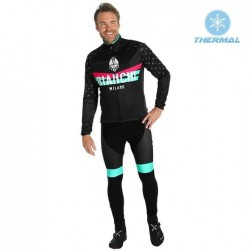 2019 Bianchi Milano PB Black Thermal Cycling Jersey And Bib Pants Set