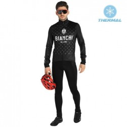 2019 Bianchi Milano FT Black Thermal Cycling Jersey And Bib Pants Set