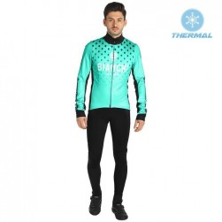 2019 Bianchi Milano FT Green Thermal Cycling Jersey And Bib Pants Set
