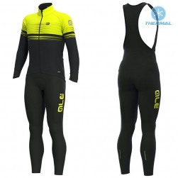 2019 ALE Slide Black-Yellow Thermal Cycling Jersey And Bib Pants Set