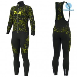 2019 ALE Camouflage Black-Yellow Thermal Cycling Jersey And Bib Pants Set