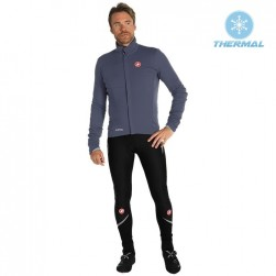 2019 Casteli DE Grey Thermal Cycling Jersey And Bib Pants Set