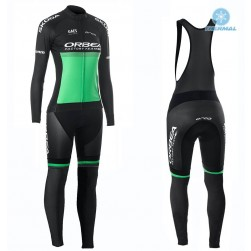 2019 Orbea Factory Racing Women Green Thermal Cycling Jersey And Bib Pants Set